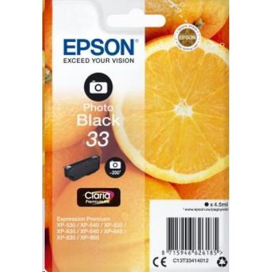 """EPSON ink čer Singlepack """"Pomeranč"""" Photo Black 33 Claria Premium Ink"""
