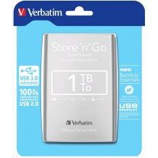 "VERBATIM HDD 2.5"" 1TB Store 'n' Go USB 3.0 , stříbrný"