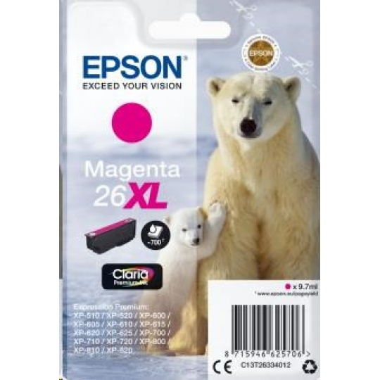 "EPSON ink bar Singlepack ""Lední medvěd"" Magenta 26XL Claria Premium Ink"