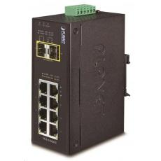 Planet IGS-1020TF, Switch, průmyslový, 8x 10/100/1000T, 2x 100/1000X SFP, -40~+75°C