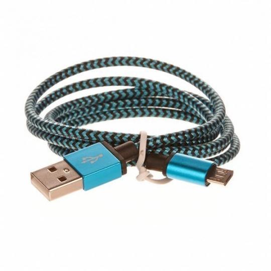 CELLFISH pletený datový kabel z nylonového vlákna, micro USB, 1 m, modrá