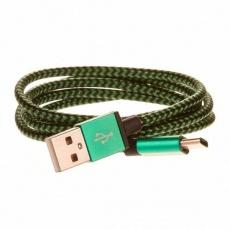 CELLFISH pletený datový kabel z nylonového vlákna, USB-C, 1 m, zelená