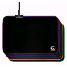 GEMBIRD Podložka pod myš MP-GAMELED-M, USB, RGB podsvícení, herní, 250x350mm, látková, černá