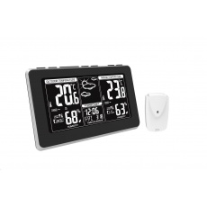 Solight TE82 meteostanice, extra velký LCD displej, teplota, vlhkost, RCC, černá, stříbrná, teplotní alarm