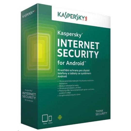 Kaspersky Internet Security ANDROID, 1 zařízení, 1 rok, nová licence, elektronicky