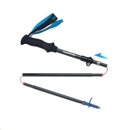 Naturehike carbonová skládací treková hůlka ST07 115-135cm 190g - modrá